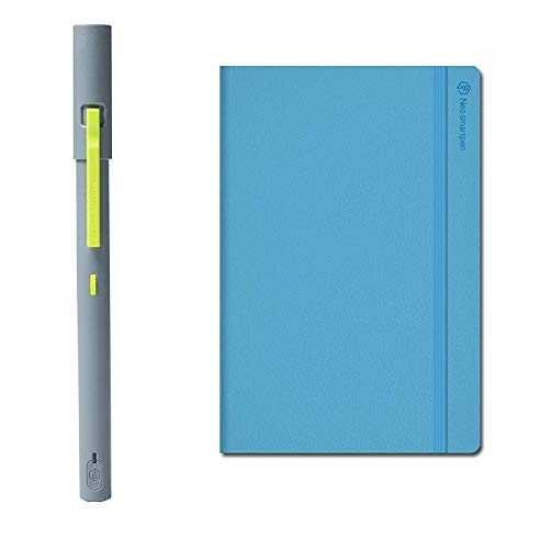 NEO SMARTPEN M1 Bluetooth Digital Pen (Grey) Bundle with N Handy Notebook (Light Blue, 150 Ruled Pages) - Compatible with iOS, Android, Smartphones, Tablets, Windows