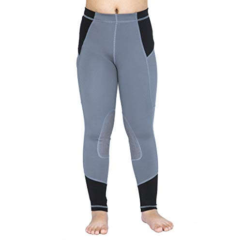 OKAY SPORTS Kid's Perfomance Horse Riding Tights Knee Patch Equestrian Pants Breathable Schooling Riding Breeches with Pocket (Gray, XS)