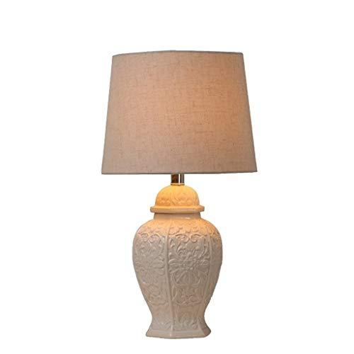 JCCOZ-URG Crema de algodón Moderna de cerámica Redondo con Estilo lámpara de Mesa URG