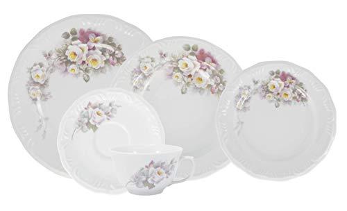 Serviço de Jantar e Chá 20 peças em Porcelana. Modelo Redondo com Relevo Pomerode. Decoração Eterna. Fabricado pela Schmidt.