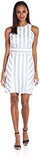 Sharagano Women's Sleeveless Stripe Dress with Keyhole Back