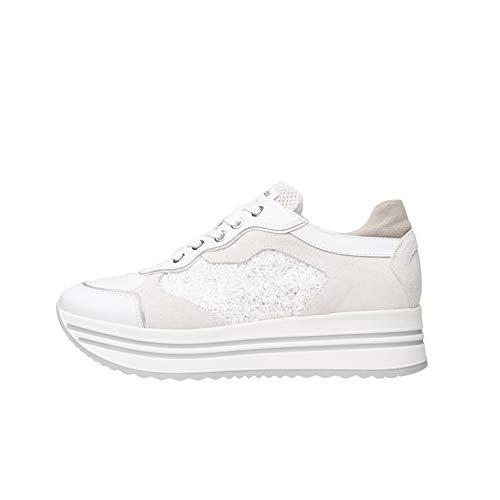 Nero Giardini E010569D Sneakers Donna in Pelle, Camoscio E Tela - Bianco 36 EU