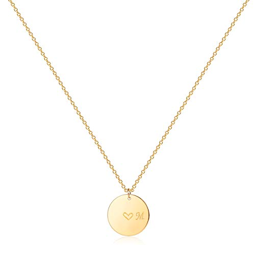 Gold Initial Pendant Necklaces,14K Gold Filled Engraved Disc Personalized Name Dainty Handmade Cute Heart Initial M Tiny Pendant Necklaces Jewelry Gift for Women …