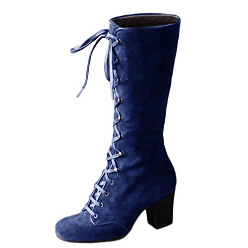 Luckycat Botas Mujer Invierno Zapato Plano Redondo Dedo del pie Espesor cuñas señoras Tubo Largo Ankle Botas Zapatos Mujer Otoño Botas de Plataforma Zapatos de tacón Botines Zapatos con Cordones