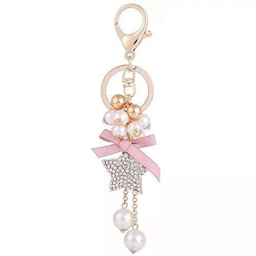 GNLIAN HUAHUA KeyChains beaded bow keychain personalized star pendant car key ring five-pointed star key chains