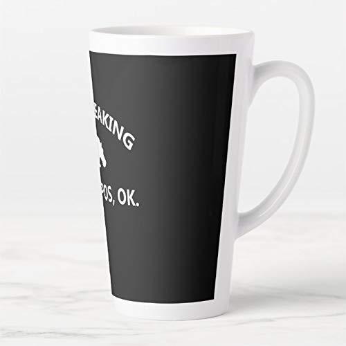 Taza de café de 17 onzas, con tapa y cuchara, diseño de hipopótamo con texto en inglés 'I Just Freaking Love Hippo Ok Latte
