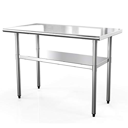 SUNCOO Stainless Steel Table 48in.x24in. Commercial Prep Table Heavy Duty Garage Worktable Workbench Industrial Restaurant Food Preparation Work Table for Shop