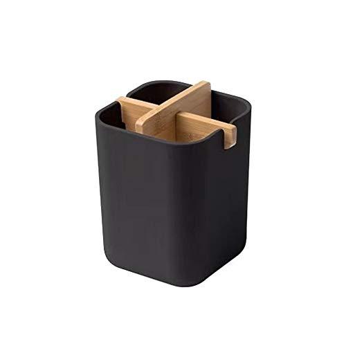 LACKINGONE Porte-brosse à Dents en Bambou avec 4 Compartiments, Gobelet de Bain Douche pour Brosse à Dents et Dentifrice, Porte-ustensiles pour Cuisine Maison - Noir