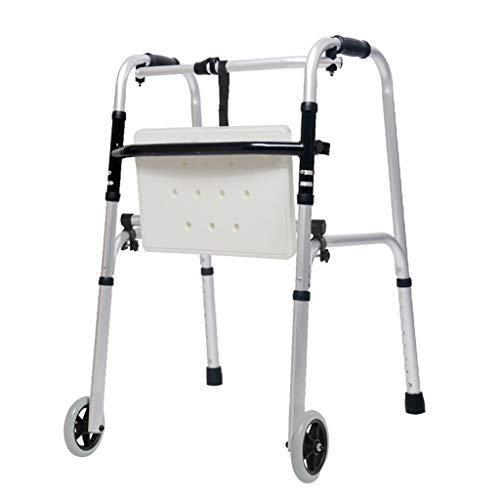LHNLY-Andadores Andador Plegable bariátrico para Trabajo con 2 Ruedas para Adultos Mayores Caminador con Ruedas Delanteras Extra Ancho para Adultos Marco Ligero para Caminar Ayuda de Movilidad