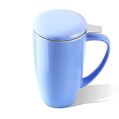 LOVECASA Tea Cups with Lid and Infuser, Porcelain Tea Mug for Steeping, 15 OZ Tea Infuser Mug for Loose Leaf Tea, Teaware with Filter for Tea/ Coffee/ Milk