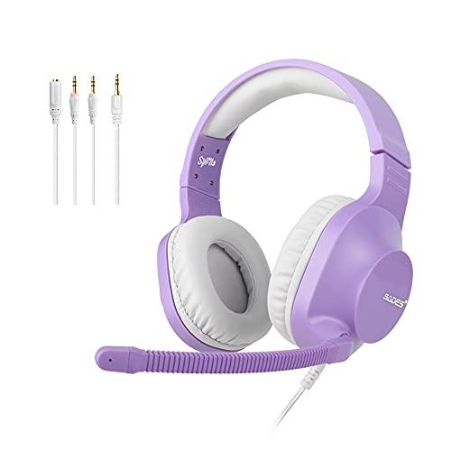SADES Spirits Casque de jeu stéréo 3,5 mm pour Switch, PS4, Xbox One, casque supra-auriculaire avec micro antibruit, contrôle du volume, cache-oreilles doux pour PC, ordinateur portable, Mac, violet