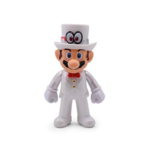 CY 5 Pulgadas / 13cm Super Mario Bros Luigi Mario Yoshi Koopa Yoshi Mario Hacedor Odyssey Seta Toadette PVC Figuras de Acción Juguetes Muñecas Modelo (White Hat Eye Mario)