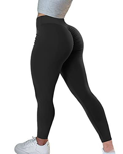 AIMILIA Women's High Waisted Butt Lifting Leggings Ruched Butt Seamless Booty Yoga Pants Tummy Control Sport Tights (Large, Black)