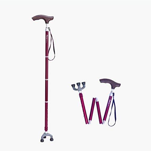 ZGQA-AOC Andadores Bastones Ligeros Caminar con Mango ergonómico de Madera muletas 10 Niveles de Altura Ajustable for Las Personas Mayores Hombres o Mujeres de la Artritis de lesionados con 3 piernas