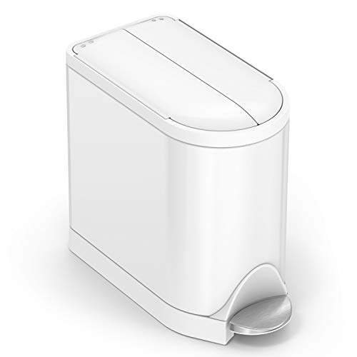 simplehuman CW2042 Butterfly Lid Bathroom Step Trash Can, White Stainless Steel, 10 Liter (Pack of 1)