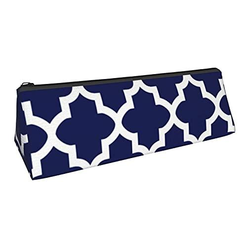 Dreieckige Stifttasche Tasche Halter Make-up Pinsel Tasche für Schularbeit Bürobedarf Schreibwaren, reiches Marineblau und weißes Quatrefoil Muster