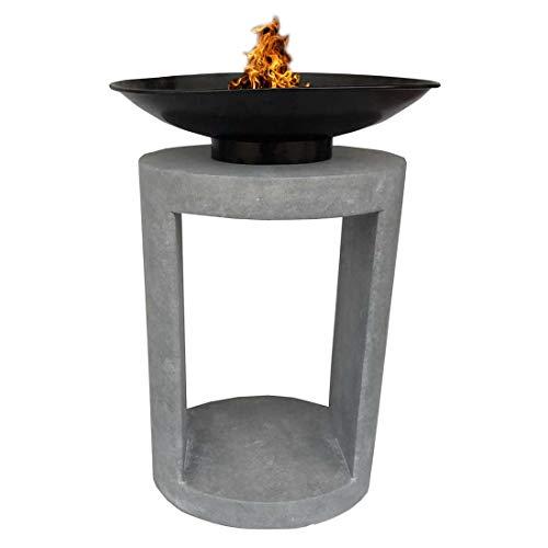 OUTLIV. Feuerschale auf Säule 45x35x66cm Clayfibre