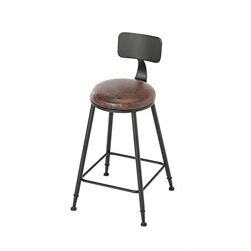 taburete de bar, Silla de Bar/Silla de Comedor Taburete de Acero Inoxidable de Metal balcón Respaldo sillón sillón mostrador Taburete Silla Lateral de café (Color : Brown, Size : 40cm*75cm)