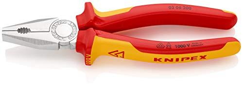 KNIPEX 03 06 200 Alicate universal cromado aislados con fundas en dos...