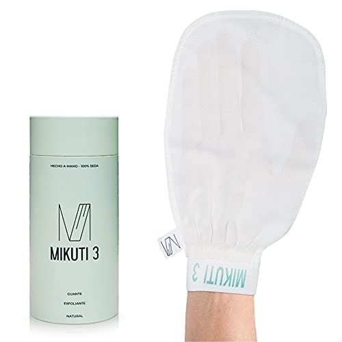 Guante Exfoliante Corporal de Seda 100% natural - Guante exfoliante para baño y ducha, elimina células muertas, elimina el autobronceado, reduce las estrías y la celulitis.