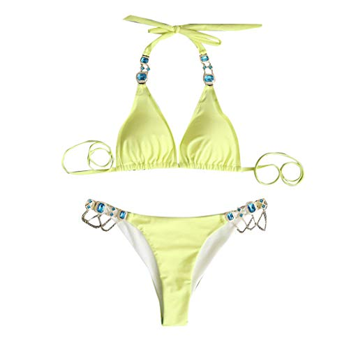 Lialbert Neckholder Mit Schnalle Bunt Gerippter Bikini Bikini-Tanga New Look Design Mit Tiefem Ausschnitt Fashion Glitzer Zweiteiliger Strukturiertes Bikinioberteil Tankini (Gelb,34)