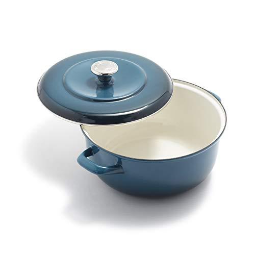 Merten & Storck Dutch Oven Forno Olandese in Ferro Smaltato Fatto a Mano, Adatto a Tutti i Tipi di Fornelli, Induzione e Forno, 26 cm 5 L, Blu Scuro