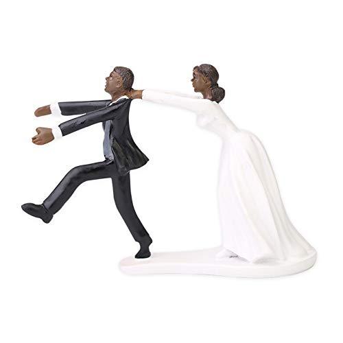 Wedding Cake Topper, Sposo Africano E Bambole Sposa Discendente Che Decorano La Decorazione della Torta Nuziale, Divertente Regalo di Decorazione di Anniversario di Fidanzamento