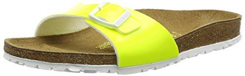 Birkenstock Classic Damen Madrid Birko-Flor Pantoletten, Gelb (Neon Yellow Lack), 37 EU