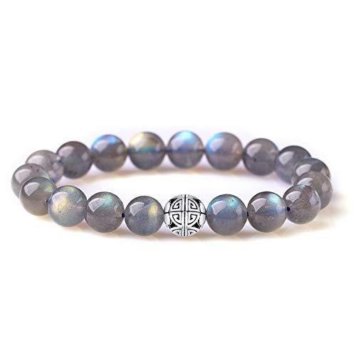 Natürliche 8 mm Edelsteine MetJakt Heilung Crystal Stretch Perlen Armband Armreif mit 925 Sterling Silber Double Happiness Anhänger (Labradorit)