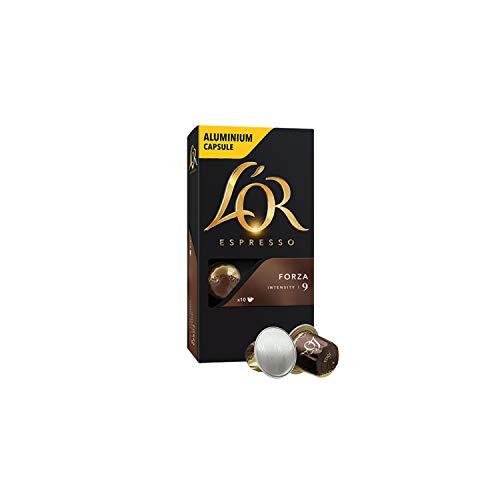 L'OR Espresso Kaffee Forza Intensität 9 - Nespresso®* kompatible Kaffeekapseln aus Aluminium - 10 Packungen mit 10 Kapseln (100 Getränke)