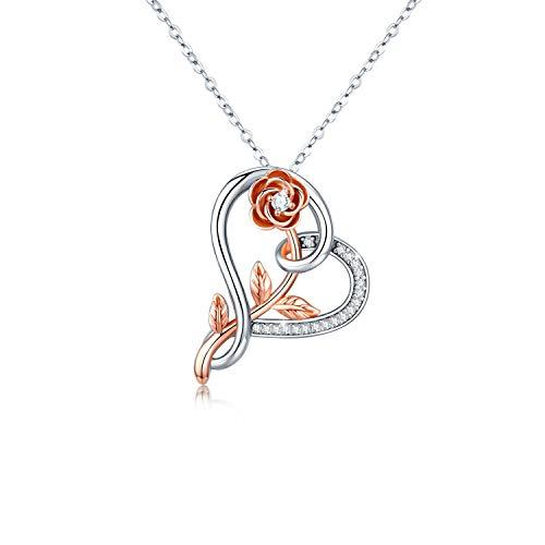 Kette Damen Rose Blume Halskette Herz Anhänger Silberkette S925 vergoldet Weißes Gold Schmuck Romantische für Frauen Mädchen(Blume Kette-1)