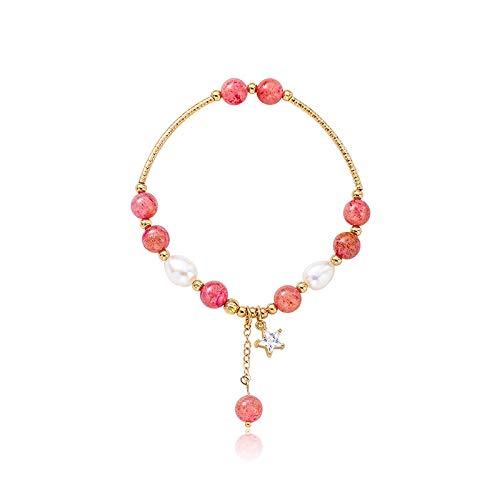 XBJ Pulsera de Mujer, Pulsera de Cristal de Fresa y Piedra Natural, Pulsera de Borla de Pentagrama de Perla y circonita