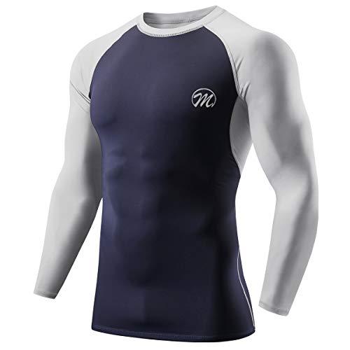 MEETWEE Maglia a Compressione Uomo, Manica Lunga Asciugatura Rapida T Shirt da Sport per Corsa Palestra Fitness (Blu, M)