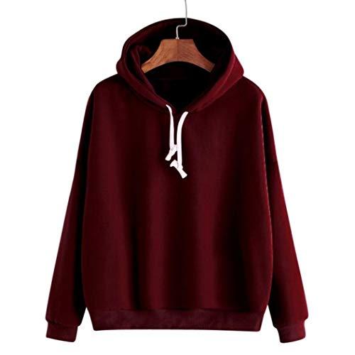 Damen Bekleidung, Pullover Windbreaker, Dress Sweatshirts & Kapuzenpullover für Damen, Weinrot, M, Women Ladies Solid Long Sleeve Casual Hooded Sweatshirt Pullover Top Blouse