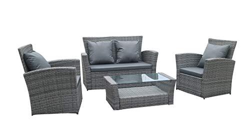CottonLife 4 Piece Rattan Outdoor Furniture Set (Grey)