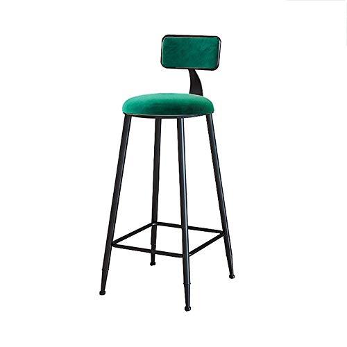 Bar simple des ménages Chaise Hauteur d'assise 65 / 75cm Cadre métal noir avec éponge Convient chambre Dossier/magasin Tabouret de bar (Color : Green, Size : 75CM)