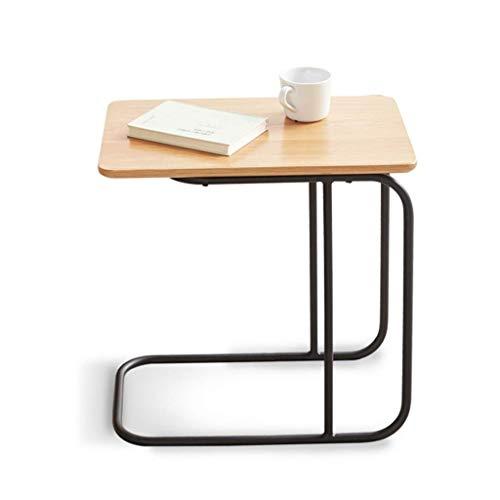 WYFX Mesas de café Sofá, Mesa de Comedor, Mesa de Esquina de Hierro para Sala de Estar, mesita de Noche de Dormitorio Simple y Elegante, Todos los Lados de Roble + Patas de Metal, Mini aparadores