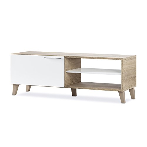 Mueble de Comedor Moderno, Mueble Salon TV, Modelo Nara, Acabado en Blanco Brillo y Roble Canadian, Medidas: 130 cm (Ancho) x 45 cm (Alto) x 42 cm (Fondo)