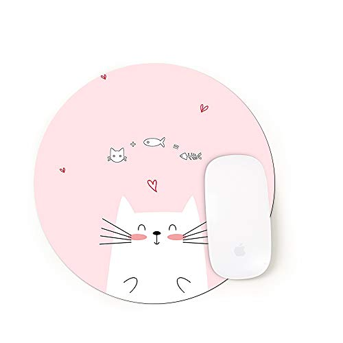 Vision Round Mouse Pad, Non-Slip Natural Rubber Base, Enhance Thickness, Waterproof, Gaming Mouse Pad Laptop Keyboard Pad, Computer PC (8.66x8.66 inch, Cats Eat Small Fish SE-102)