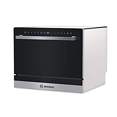 21.65? Compact Countertop Dishwasher, 5 Washing Programs, 6 Large Place Setting Rack, Two Installation Methods Countertop or Built-in, Portable Dishwasher with Child Lock, Black Glass Door Panel