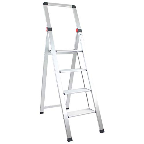Brigros - Scala Piatta per uso domestico, Scalita la rivoluzione delle scale, in alluminio, Super Leggera, Ultra piatta, Facile da conservare e traportare, non occupa spazio (4 gradini)