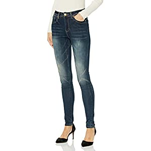 Women's Acid Washed Basic Five Pocket Blue Skinny Jeans