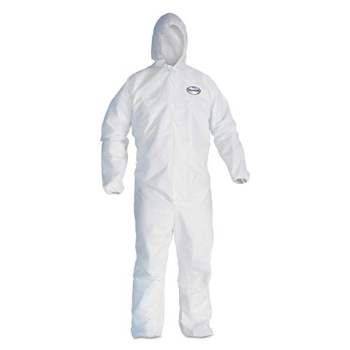 KLEENGUARD - 3600044324 KleenGuard 44324 A40 Elastic-Cuff and Ankles Hooded Coveralls, White, X-Large (Case of 25)