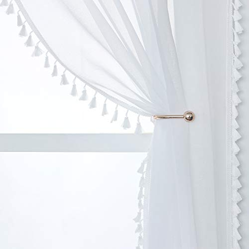 YoungsTex Linen Look White Sheer Curtains - Grommet Top Tassels Voile Semi Sheer Drapes for Living Room and Bedroom, 2 Panels, 52 x 84 Inch
