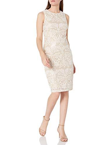 Eliza J Women's Sleeveless Lace Midi Dress Special Occasion, Ivory/Gold, 8