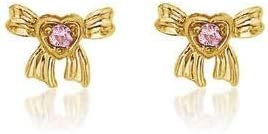 Girls 14K Yellow Gold Snow White Pink Sapphire Bow Stud Earrings