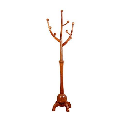 Râteliers multi-usages Porte-Manteau Plancher en Bois Massif intérieur Chambre Porte-vêtements Combinaison Cintre Casiers (Color : Brown, Size : 45 * 45 * 185cm)