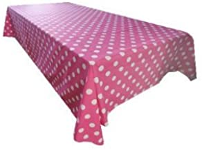 ArtOFabric Decorative Cotton Tablecloth in White Polka Dot on Fuchsia Print 59x90