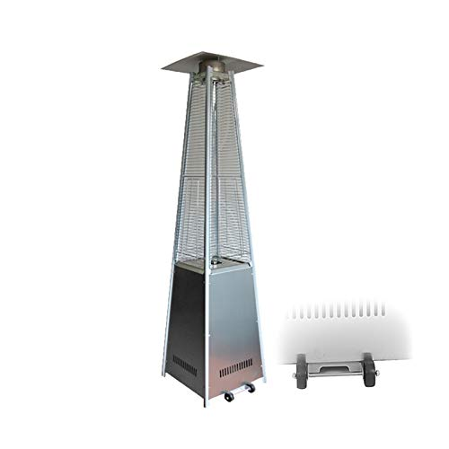 AIZYR Pyramid Patio Gas Heater, Outdoor Free Standing Propane Heater with Wheels and Quartz Glass Tube for Indoors and Outdoors,Silver