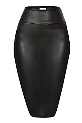 Simlu Faux Leather Pencil Skirt Below Knee Length Skirt Midi Bodycon Skirt Womens, USA Black Large